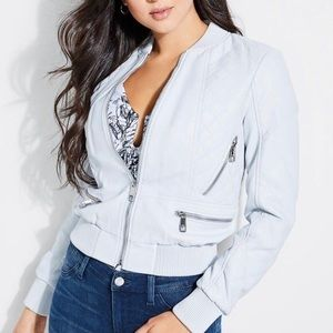 NWT GUESS | Melissa White Leather Bomber Jacket